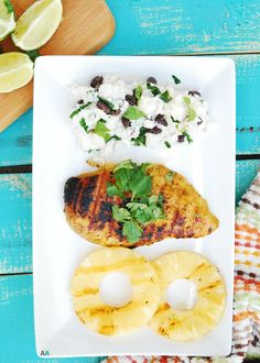 Grilled Island Chicken with Lime Coconut Rice & Beans (GF, DF, Egg, Peanut, Tree nut Free) Recipe by AllergyAwesomeness.com