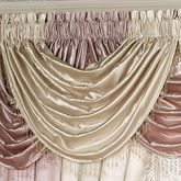 The polyester satin Portia II Window Treatment brings to mind wistful visions of French cafes and grand ballrooms. Waterfall Valance has beaded trim.