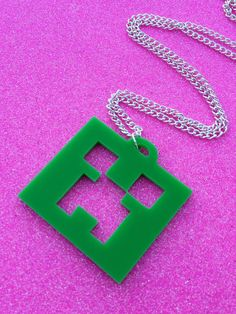 Minecraft Creeper Necklace by Ge3kedUp on Etsy, $12.00