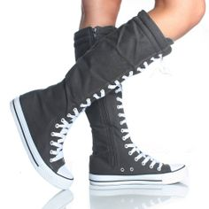 Gray Canvas Lace Up Skate Punk Sneaker Flat Womens Knee High Boots $16.99 before shipping, and they're gray. $8.00 shipping, so $25 total. free shipping on the next item if you get something else, though.