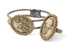 Cameo Bracelet and Cameo Ring Brass Set Victorian Jewelry Boho Antique Bronze Color Vintage inspired Girl Portrait Cameo Jewelry (40.00 USD) by Rozamina