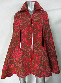 EXQUISITE RARE VTG 60's Mod Flower Power Hot Pink & Woodland Green Psychedelic Bohemian Hand Woven Tapestry Reversible Cape Cloak Swing Coat...