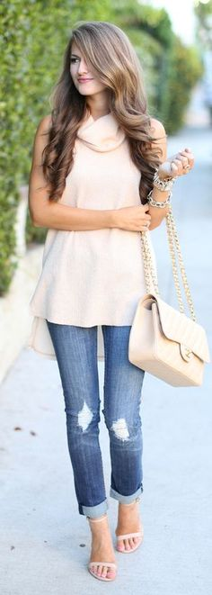 Sleeveless Turtleneck Back To School Outfit Idea by Southern Curls and pearls
