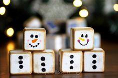 melted snowman wooden cubes