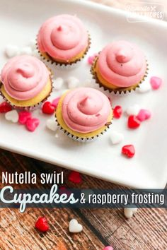 These Nutella Swirl Mini Cupcakes with Raspberry Cream Cheese Frosting are the answer to your Valentine's Day treat prayers! They are easy and SO GOOD. Nutella Cupcakes, Swirl Cupcakes, Raspberry Cream Cheese Frosting, Cream Frosting, Sweet Recipes, Snack Recipes, Dessert Recipes, Fun Desserts, Delicious Recipes