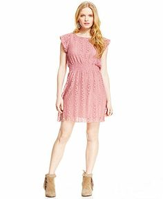 Macy's, needs belt American Rag Short-Sleeve Lace Dress