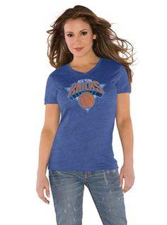 Touch by Alyssa Milano New York Knicks Primary Logo Tri Blend V Neck T-Shirt-