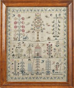 "English silk on linen sampler, wrought by Mary Baxter Her Work 1810, with an upper panel of Adam and Eve, flanking the Tree of Life, a middle panel with a house and stylized trees, and a lower panel of a shepherd and a shepherdess, all within a vine border, 15"" x 12 1/2""."