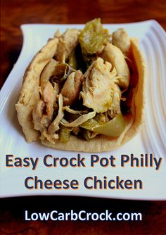 Low Carb Crock Pot Philly Cheese Chicken (4 ingredients) #easy no-precooking lowcarbcrock.com