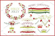 Holiday Floral Clipart Vector by Kelly Jane Creative on @creativemarket