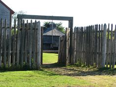 Main gate at the fort Fort Western, Main Gate, Westerns, Maine, Buildings, Outdoor Structures, Spaces, History, Plants