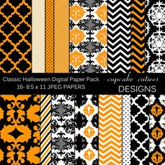 16 Classic Halloween Digital Papers. These are beautiful!! Great for invitations, cards, and paper goods. Great scrapbooking papers!