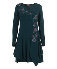 Coline Emerald Floral Embroidered Handkerchief Dress - Women & Plus | Best Price and Reviews | Zulily Handkerchief Dress, Chic Dress, Tunic Tops, Emerald, Elegant, My Style, Floral, Cotton, High Point
