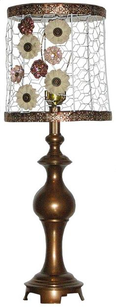 refurbished lamp with handmade chicken wire shade with magnetic flowers
