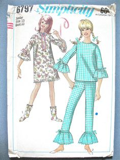 Simplicity 6797 Junior and Misses' Nightgown Pajamas and