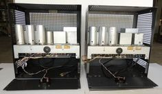 Pair Early Silver Western Electric 1086A Tube Amplifiers From 1930's Era & Cages