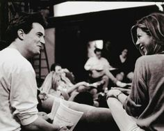 Matthew Perry and Jennifer Anniston script reading on the set of F.R.I.E.N.D.S