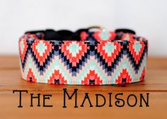 """Girly Aztec Inspired Grey Coral & Charcoal Geometric Collar Dog Collar """"The Madison"""""""