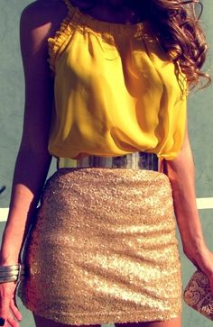 High waisted sequin skirt. Gold cuff and simple top. Great for New Year's Eve