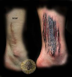 tattoo over scar showing metal plate... i want ! @jacquelinesamm