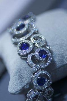 white and blue diamond bracelet