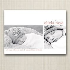 photo baby birth announcement - sweet and simple.
