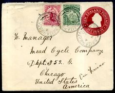 Postal History - 1841 - 1900 #324224 1902 Cover ½d green Mt Cook, 1d Universal, 1d Stationery Envelope - Kaitangata, Dunedin, San Francisco, to Chicago 3 .10.1902, nice up rated cover, correct 2 1/2d rate ...