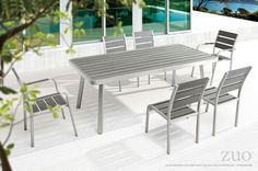 Zuo Township Dining Long Table Brushed Aluminum.