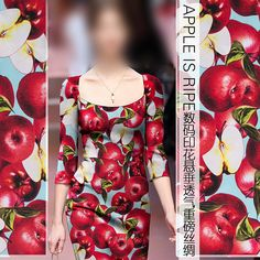 Light Blue Stretch Silk Charmeuse Fabric with Red Apple Print
