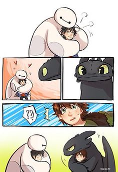 Big hero six!!! How to Train your Dragon!!! I LOVE IT!!!!!!!!!>>>>This picture is AMAZING!!!!!! Two of my favorite movies of ALL TIME!!!!!