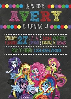 Rainbow Rocks Equestria Girls Birthday Invites por KellyJoStudio