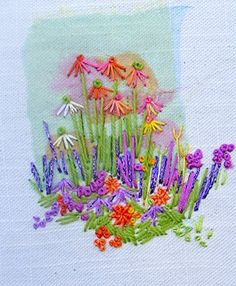 Rowandean Embroidery - There are multiple layers of organza under the simple stitches. Hand Embroidery Flowers, Hand Embroidery Stitches, Silk Ribbon Embroidery, Embroidered Flowers, Floral Embroidery, Cross Stitch Embroidery, Embroidery Patterns, Machine Embroidery, Fabric Cards