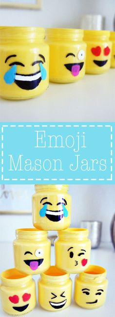 Simple DIY Emoji Mason Jars made out of baby food jars. Great idea for teacher's gift or summer kid's craft. Cute Crafts, Crafts To Make, Easy Crafts, Craft Projects, Crafts For Kids, Project Ideas, Mason Jar Crafts, Mason Jar Diy, Plastic Jar Crafts