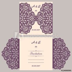 Wedding invitation or greeting card with abstract ornament. Vector envelope template for laser cutting. Paper cut card with silhouette. Cutout silhouette panel. Cutting file