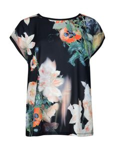Opulent bloom woven front tee - Black   Tops  T-shirts   Ted Baker