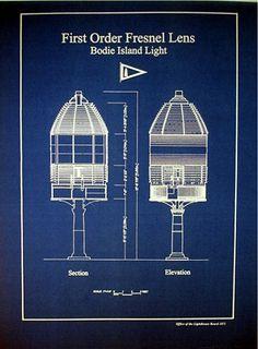 "American Lighthouse Lens N Carolina Bodie Island 1872 Blueprint 16""x22"" (137)"