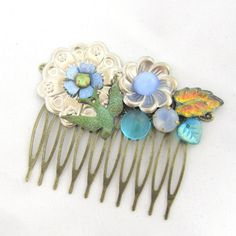 Blue and silver Vintage Bridal HairComb- Collage Wedding Hairpiece-  Hair Accessory- Statement  fascinator on Etsy, 255,25 kr