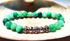 Men's Beaded 8mm+ Mala Stretch kunzite ,bali silver bracelet 7.5  #Handmade #Beaded