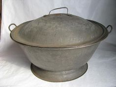 old tin dough bowl with cover