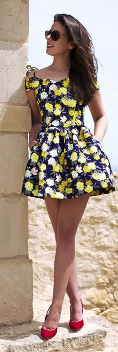 Floral And Girlish Shoulders Inspiration Dress by 1sillaparamibolso