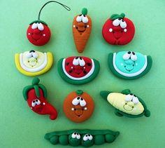 Polymer Clay Fridge FRUITS n VEGGIES magnet SET. $30,00, via Etsy.