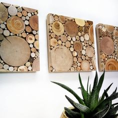 Set of 3 modern wood wall art/ Reclaimed wood wall decor/ Rustic wood home decor/ Driftwood wall hanging/ Wood wall sculpture/ Unique mosaic Wood Home Decor, Rustic Wall Decor, Rustic Wood, Roman Clock, Wood Mosaic, Tree Shop, Creation Deco, Boho Home, Woodland Nursery Decor