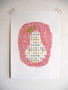 Pear art print  Poster A4 by mademoiselleyo on Etsy, $14.00