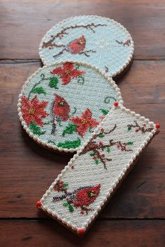 Christmas Cardinal Needlepoint Cookies by Julia M. Usher