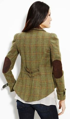 Adorable plaid jacket with elbow patch detail