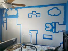 After the Batman wall, I got a request to do a Super Mario Bros wall for some other friends. Toddler Boy Room Decor, Boys Room Decor, Baby Boy Rooms, Kids Room, Super Mario Room, Super Mario Nursery, Nintendo Room, Kids Wall Murals, Room Wall Painting