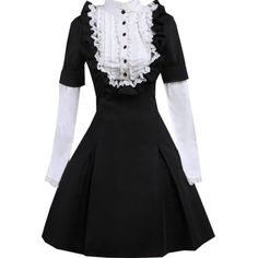 Partiss Women's Classic Black Long Sleeves Cotton Lolita Dress (385 CNY) via Polyvore featuring dresses, long sleeve dress, longsleeve dress, long sleeve cotton dress, cotton dress and cotton day dresses