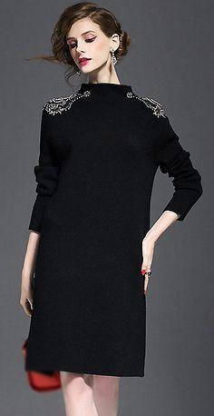 Elegant High Neck Beaded Long Sleeve Knitted Dress