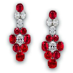 Pigeon Blood Ruby and Diamond Earrings ❤ liked on Polyvore featuring jewelry, earrings, ruby jewellery, diamond jewelry, earring jewelry, ruby earrings and diamond earrings