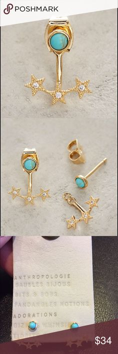 """New Anthropologie Stars Align Front-Back Earrings Beautiful 3 piece earring set made with real turquoise, 14k gold plating, and cubic zirconia. 0.5"""" L, 0.5"""" W. Anthropologie Jewelry Earrings"""